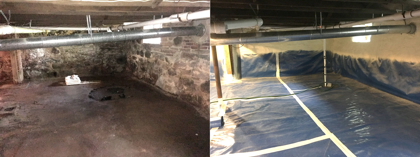 Crawl space liner project before and after